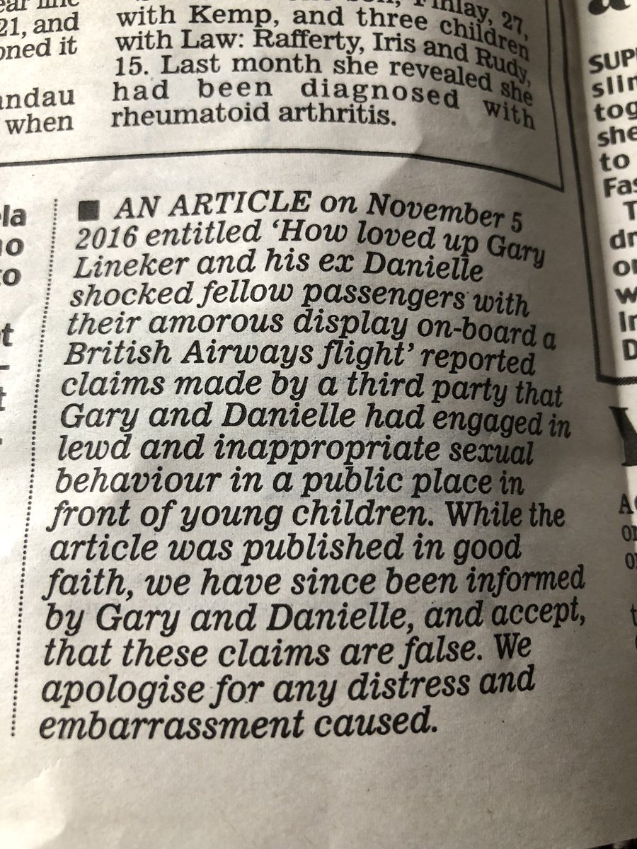 An apology from the Daily Mail admitting their fabricated, false story was published in good faith: cheers.