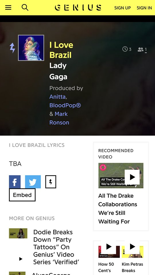 Lyric brazil song lyrics : G1 Lady Gaga (@g1ladygaga) | Twitter