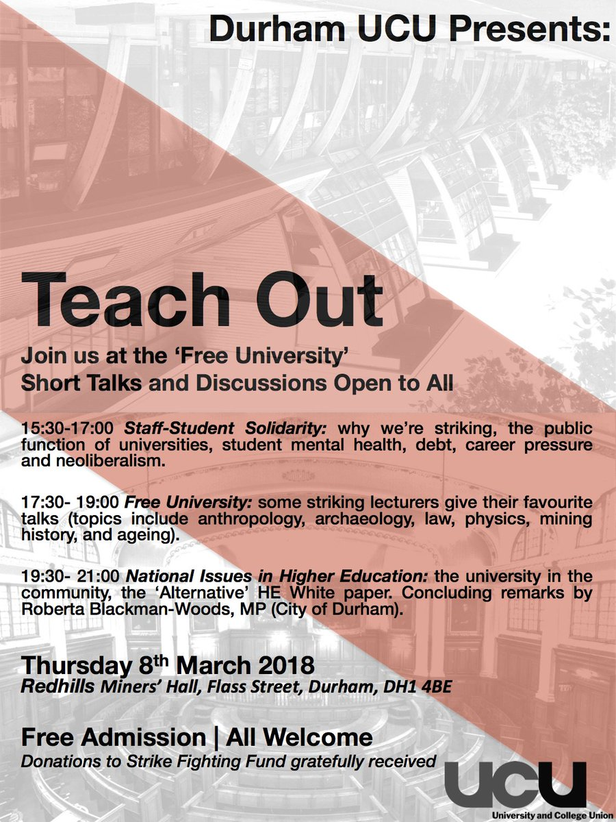 Honoured to be talking about Ageing and Interdependency at the inaugural* Free University (of Durham) Teach Out, Thursday 8th March, @DurhamMiners Hall, All welcome! Organised by @DurhamUCU *unless its been done before @robertabwMP @LauraPidcockMP