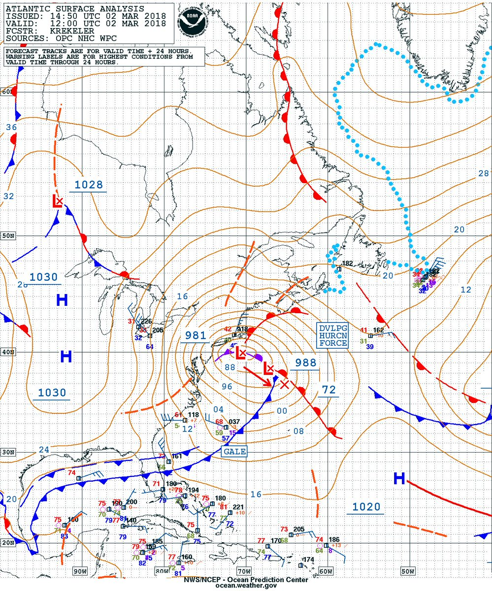 Nws opc on twitter opc 12z atlantic surface analysis chart along