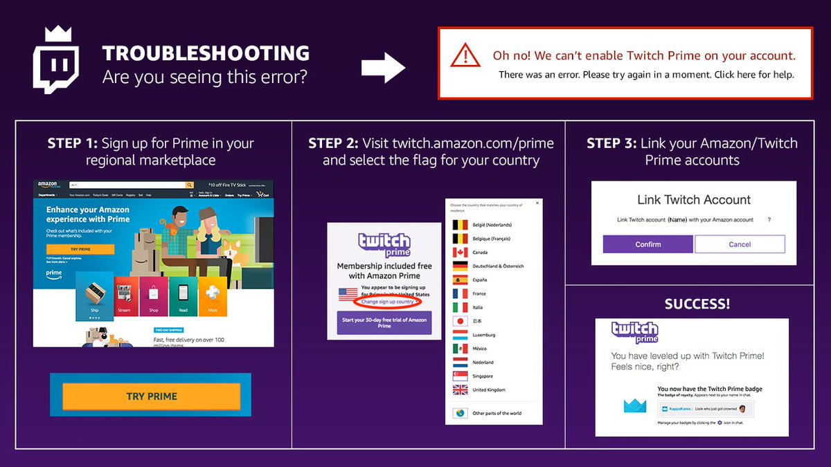 Twitch Prime On Twitter If Youre Seeing The Cant Enable Your Account Error Heres Some Info Which May Help