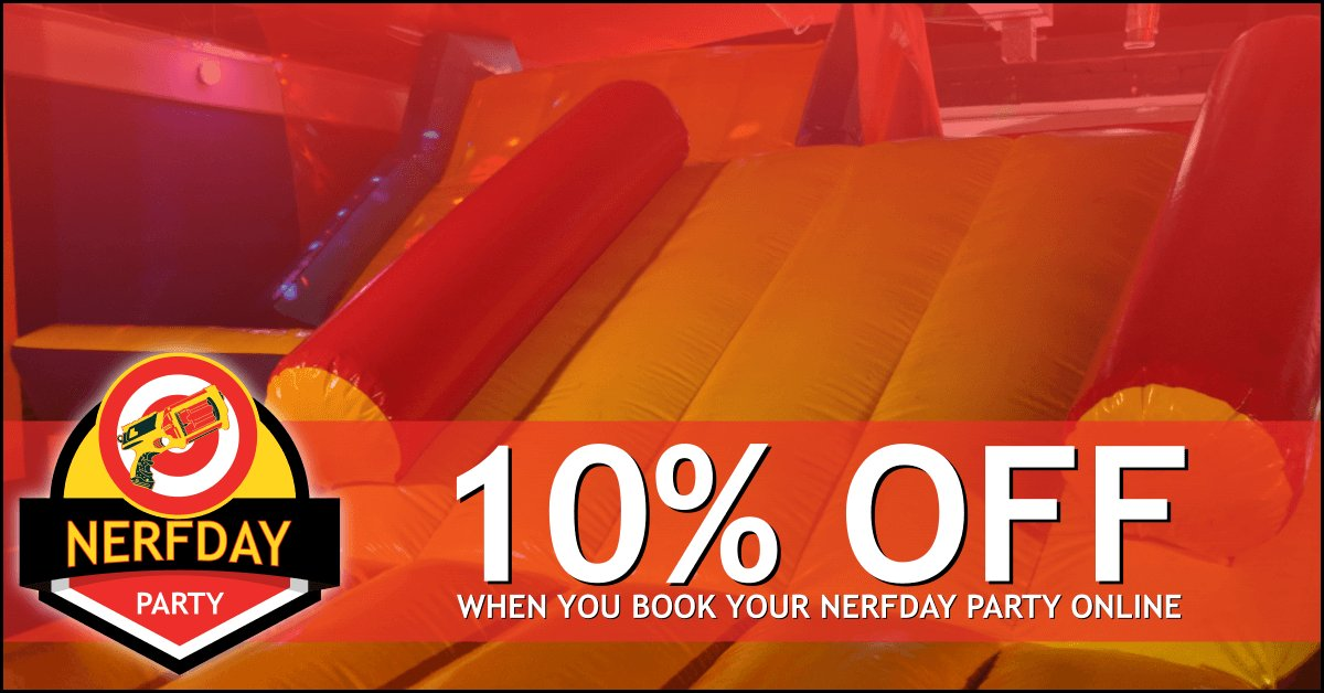 Celebrating a Birthday soon? Another year older, another year wiser.  With Great Wisdom comes GREAT SAVINGS when you book a Nerftastic Nerfday Party Online &amp; SAVE 10%! More reason to head to our website -  https:// buff.ly/2GXQyaq  &nbsp;  !  Make EVERY BERFDAY PARTY a #NERFDAY PARTY! <br>http://pic.twitter.com/EzPiqW5Rk3