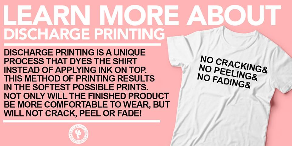 99f2422371 Our custom t-shirts are printed using a special method of printing called  discharge. Here is a little information on our style of printing!