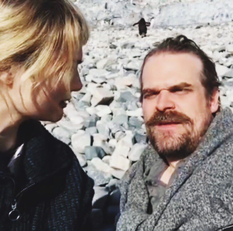 David + I talked long + hard in Antarctica about many serious things. It's hard to be serious when penguins keep making fun of you behind your head. It's also hard to be serious when someone keeps saying puke all the time.  Someone * cough @DavidKHarbour youtu.be/mKTYYhAlUJ8