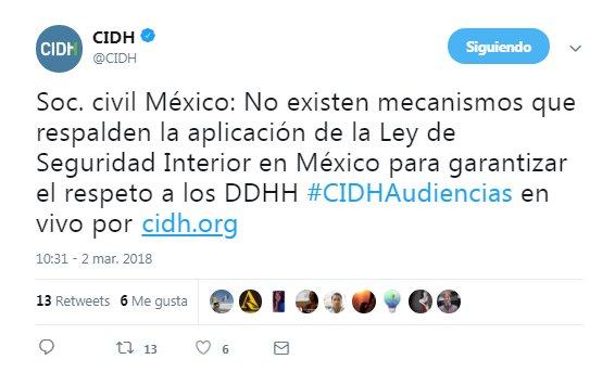 #LeyDeSeguridadInterior implica agravar violaciones a garantías: activistas ante @CIDH https://t.co/ghcenvT62t