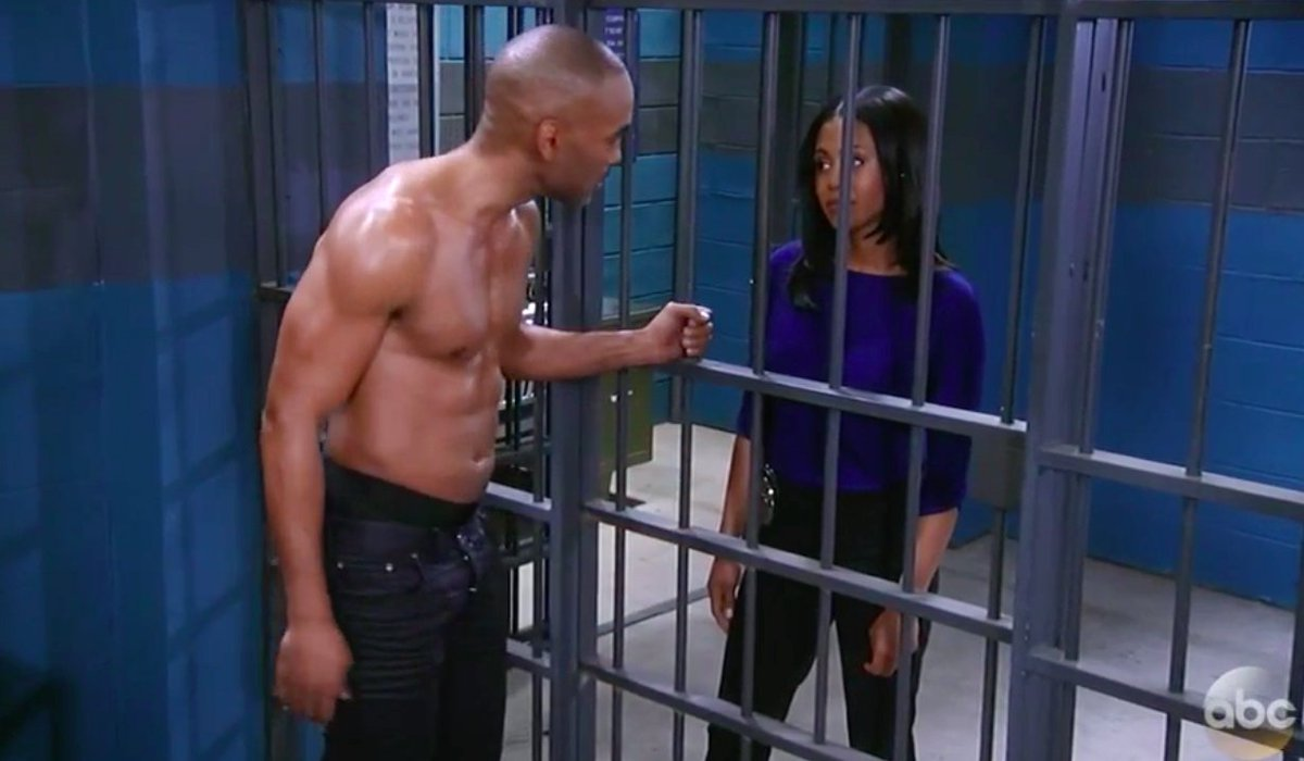 Jordan visits a shirtless Curtis while he's in jail.