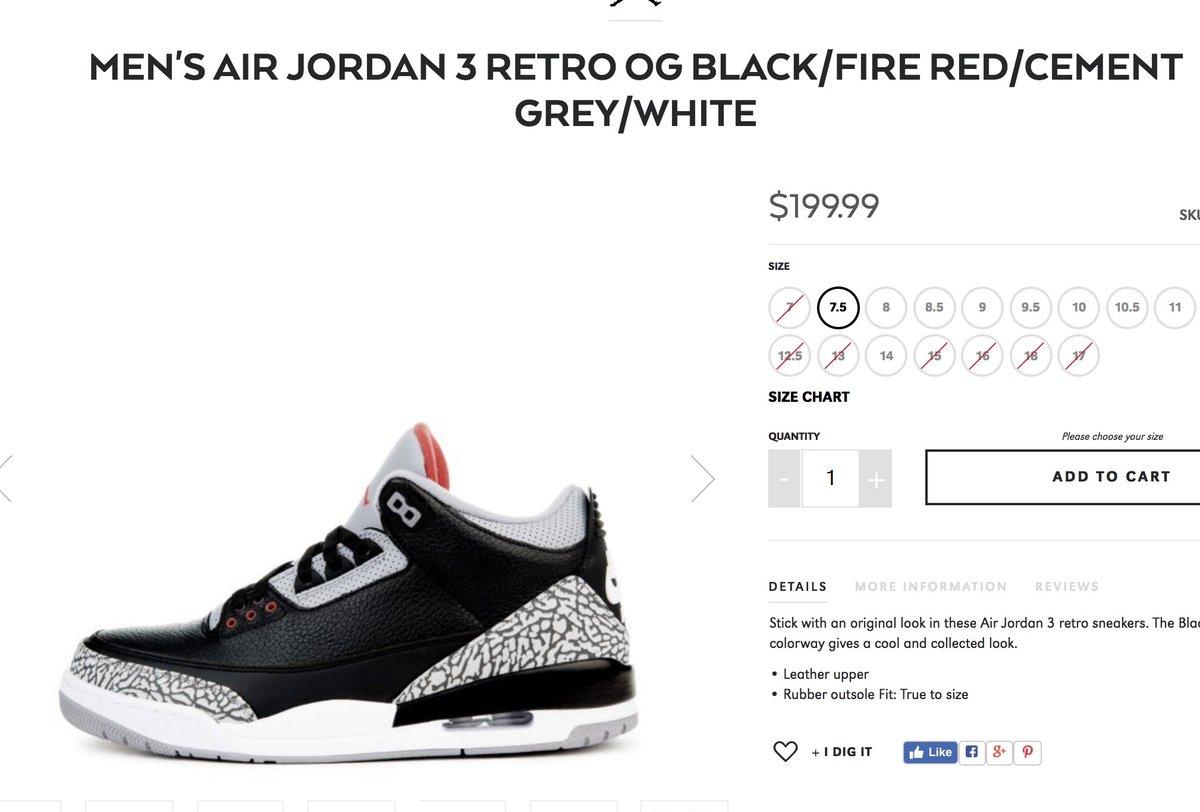 RESTOCK Air Jordan 3  Black Cement     http   bit.ly 2EywXRh  pic.twitter.com snjTx0O498 e9ae2eee8