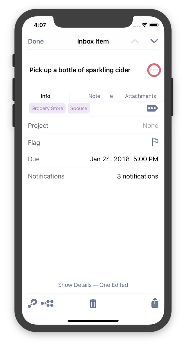 Ken case on twitter happy omnifocus 3 testflight month everyone heres what it looks like to inspect an individual task in todays ios build note the tags listed at the top 3 notifications and a show details stopboris Choice Image