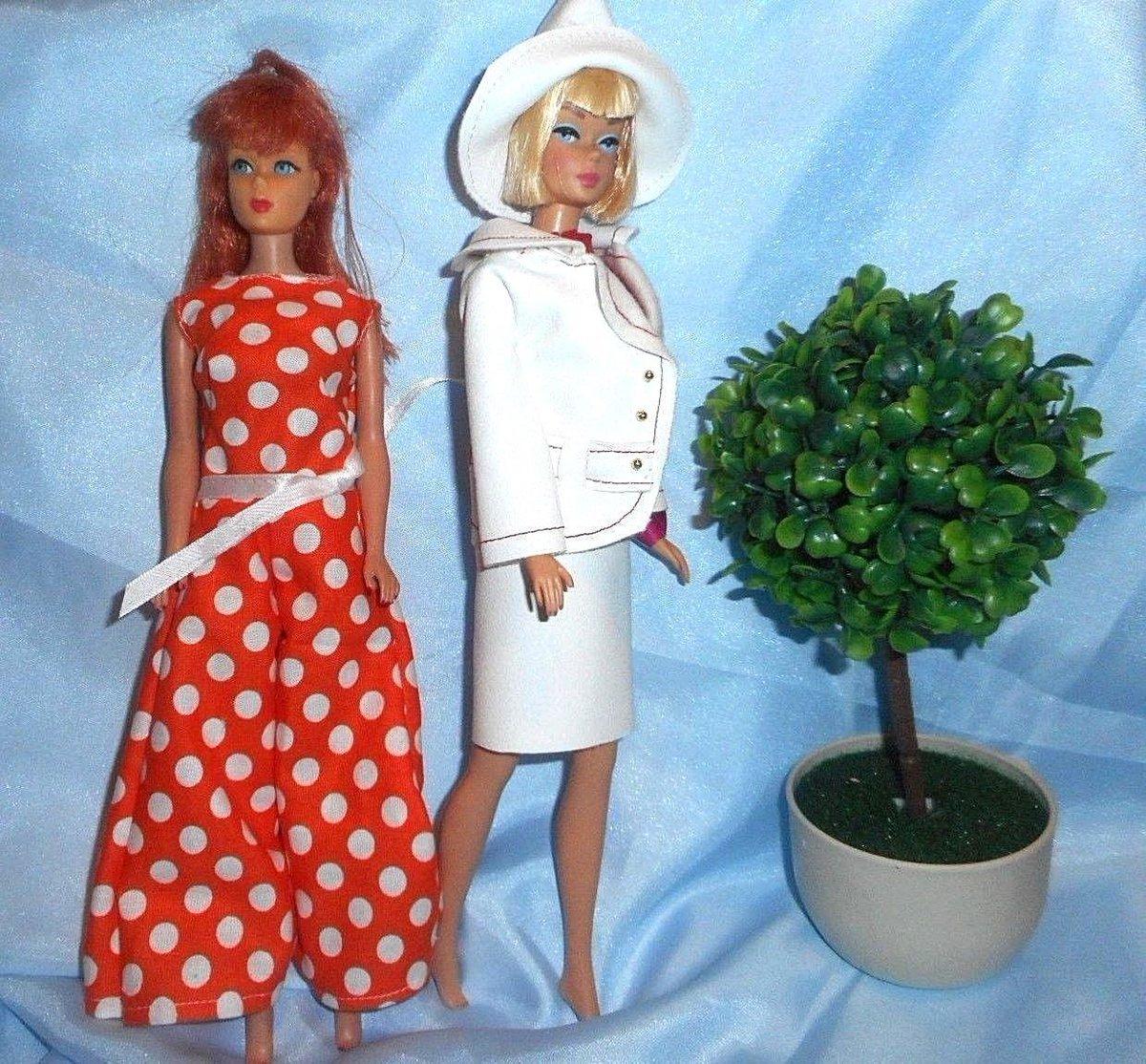 OOAK Barbie Color Magic inspired Mod Flower dress lot of 3 dress set 9 pieces