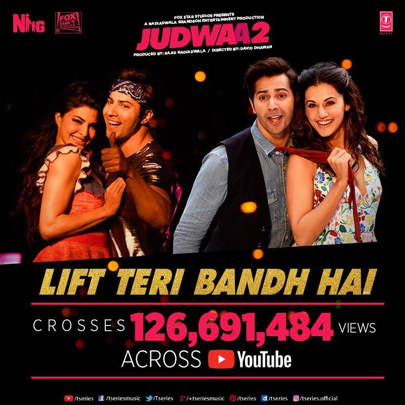 Tan tana tan crosses 200 million  views and lift Teri bandh hai 125 million views across youtube. #judwaa2 keep dancing  @NGEMovies #daviddhawan @anumalik #sandy @taapsee @Asli_Jacqueline<br>http://pic.twitter.com/ihfRG63DJ8