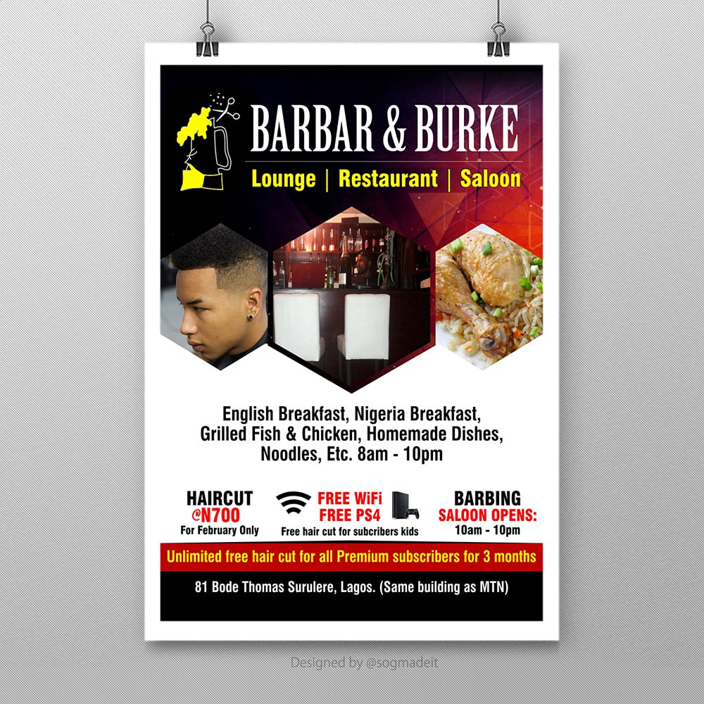 Sogmadeit On Twitter Banner Designed And Printed By Sogmadeit For Barbar Burke Sogmadeit Graphics Design Studio Banner Print Graphicdesigner Graphicartist Lounge Nigeria Food Restuarant Saloon Haircut Barbing Followback Chillzone