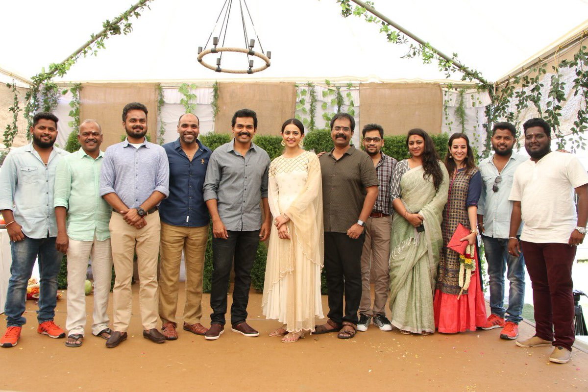 Actor Karthi's new movie launched with a Pooja today. Karthi and Rakul preet singh