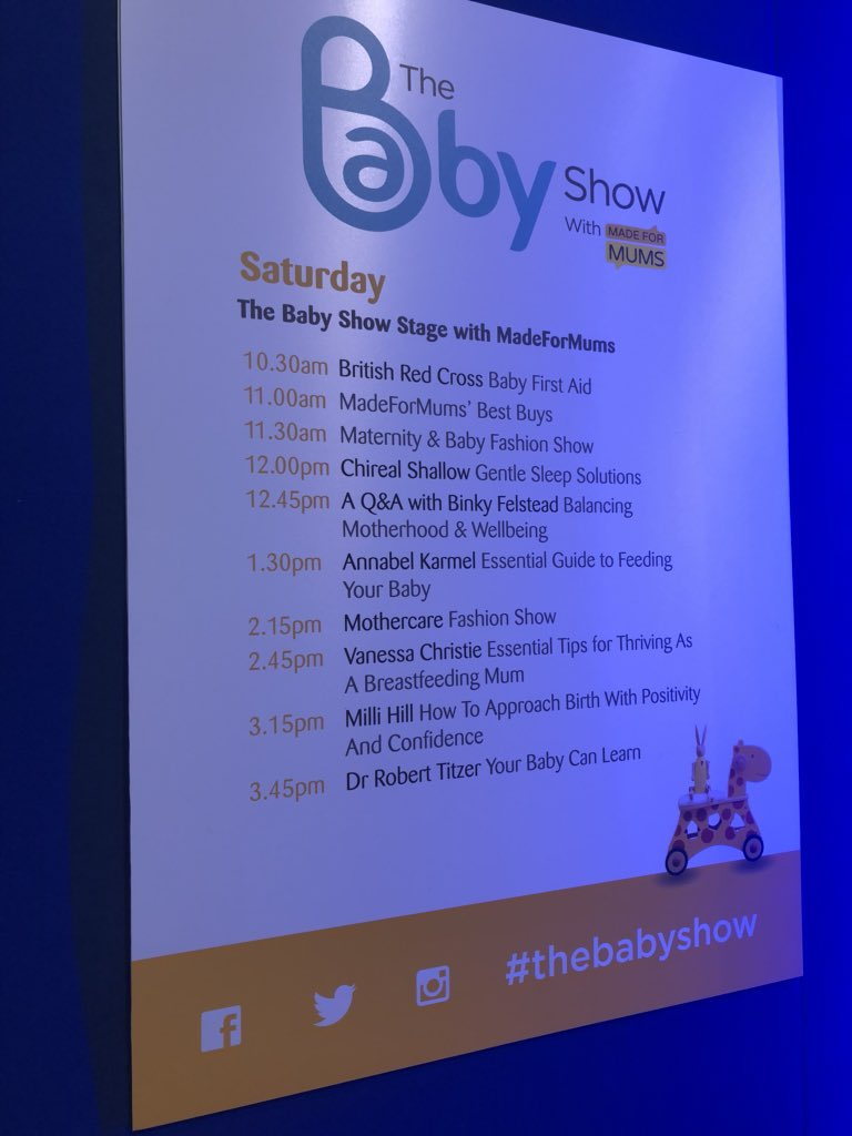 Great line up on the @TheBabyShow stage  Cannot wait for @MissAmyChilds &@BinkyFelstead to join me #Mummy #Wellbeing #celebmums pic.twitter.com/IrFGKUVY2k