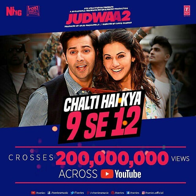 Our Favourite Party Anthems #ChaltiHaikya9se12 completed 200million and #liftteribandhai completed 125Millon Views Across Youtube keep shake your legs on #Judwaa2 Tracks !! CONGRATULATIONS TEAM @Varun_dvn @NGEMovies @foxstarhindi @Asli_Jacqueline @taapsee #daviddhawan <br>http://pic.twitter.com/bZJ5FBzqHb