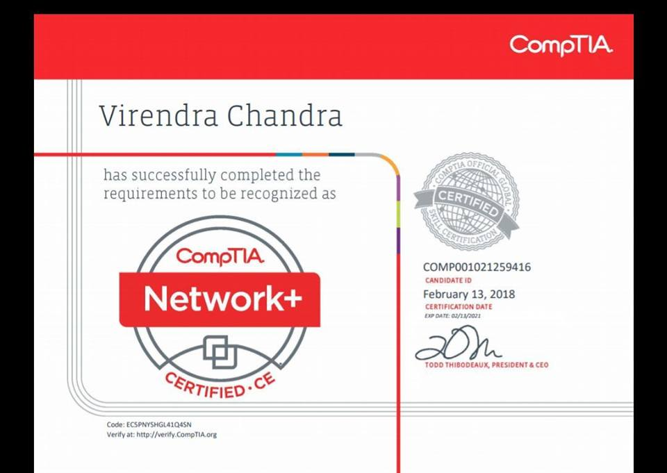 Comptia India On Twitter We Congratulate Mr Virendra Chandra For
