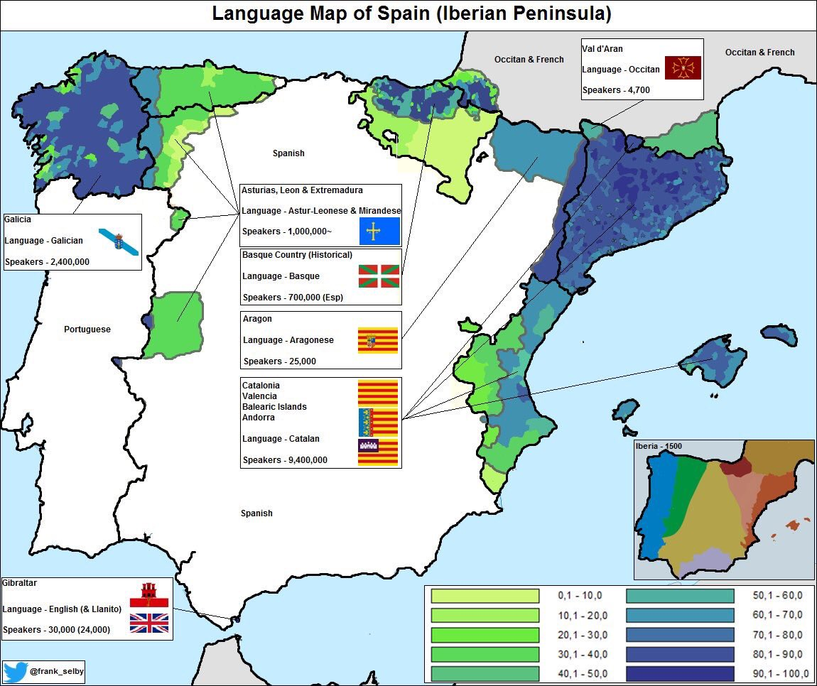 Language Map Of Spain.David Hughes Fbpe On Twitter Portuguese Is Rather Widely