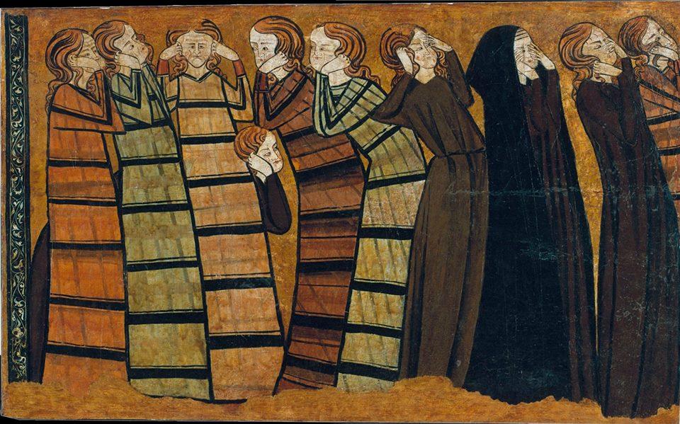 Pannello dipinto con dolenti, 1295 Stile...
