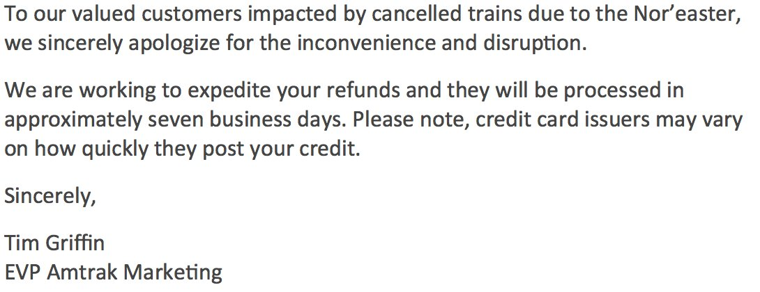 Amtrak On Twitter Sending The Refund Request Form Is Almost The