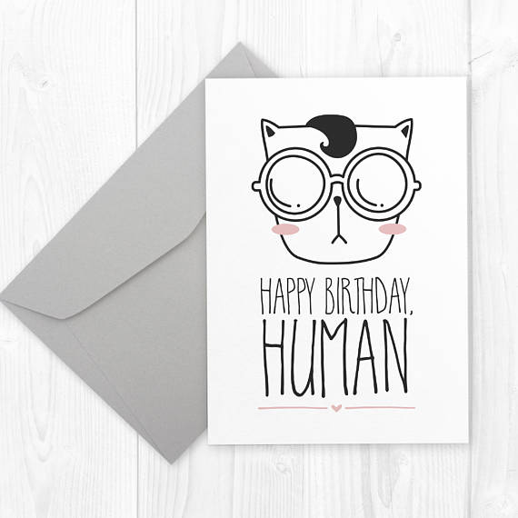 Printable Etsyfinds Diy Funny CAT Birthday Card