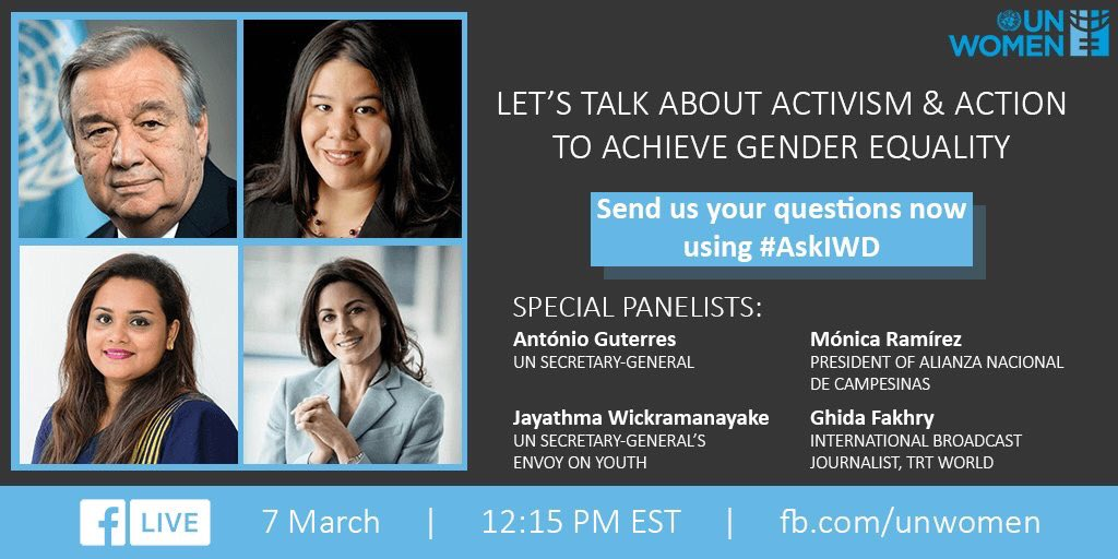 Activism & gender equality will be the focus of a special #WomensDay @facebook live event this week at the UN in NYC.   Join the online convo & ask Q using #AskIWD now.