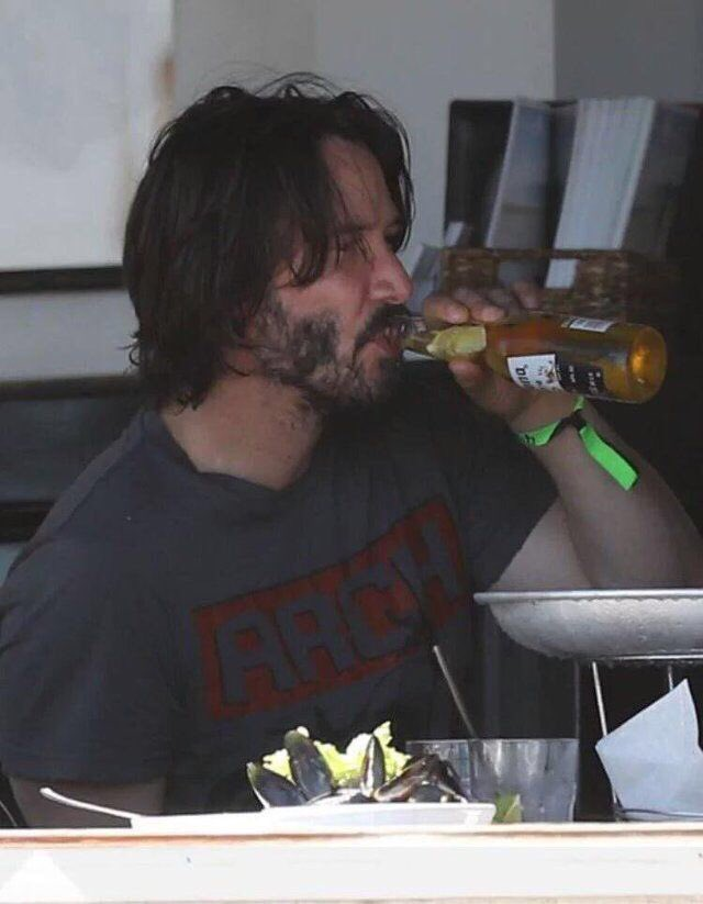 "keanu doing things on Twitter: ""keanu reeves drinking a corona ..."