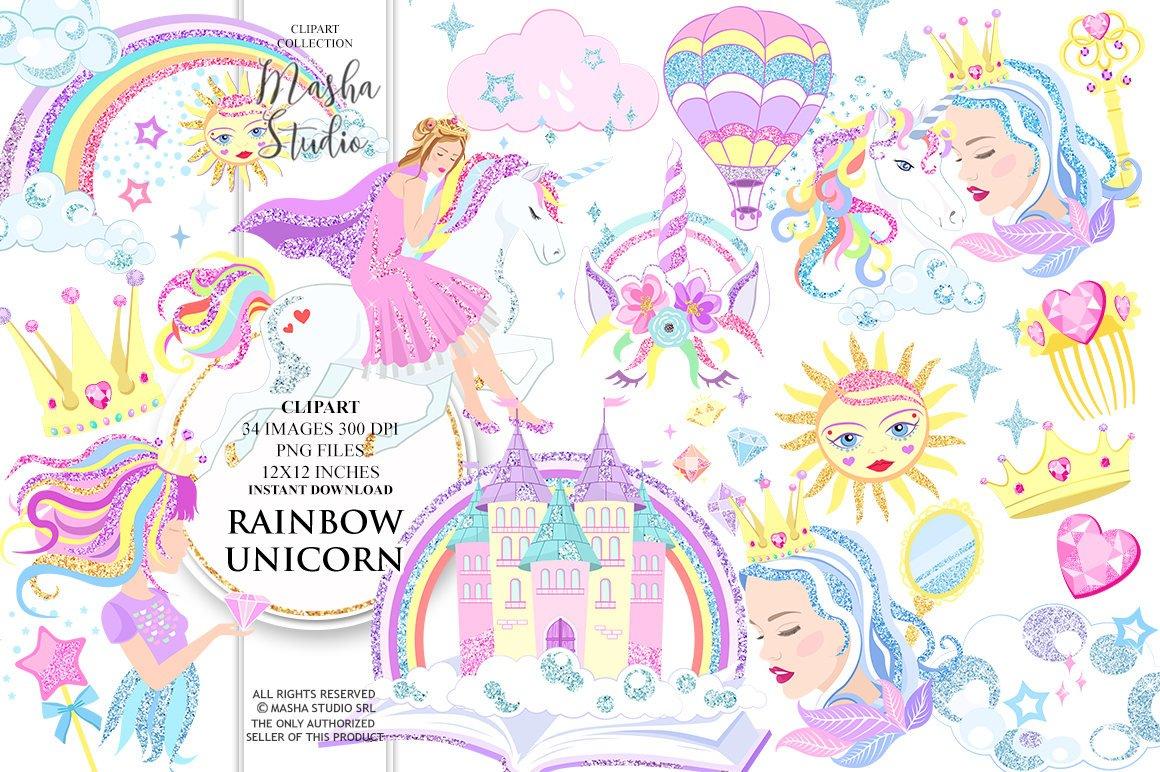 Unicorn Clipart Unicorn Clipart Watercolor Floral Unicorn | Etsy