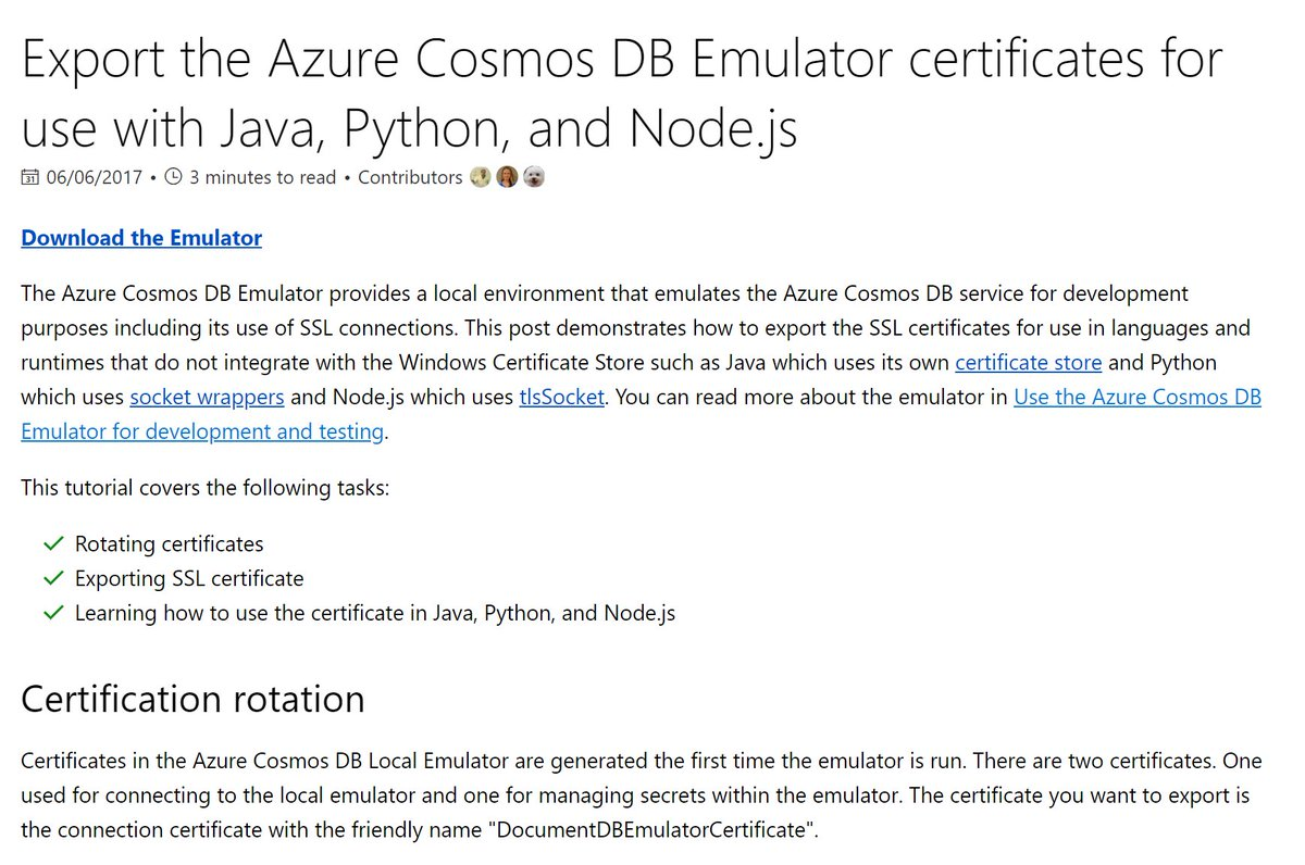 Azure Cosmos Db On Twitter Export The Azure Cosmosdb Emulator