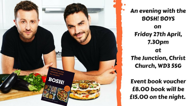 So excited to announce that the @BOSHTV boys are coming to Chorleywood to celebrate their new cookbook BOSH! from @HarperCollinsUK @IndieThinking on Friday 27th April, 7.30pm @christchurchcw  .  The book is filled with tasty recipes!   Tickets are here: checkout.matterpay.com/s/chorleywood-…