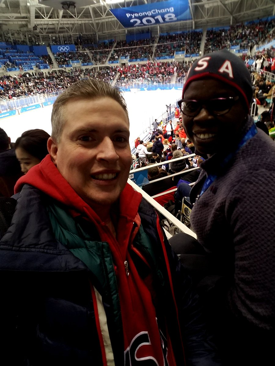 I guess spotting @Lesdoggg at the #USAvsOAR men&#39;s game and then introducing her to a few players worked out. #SNL #TeamUSA #PyeongChang2018 #NBC<br>http://pic.twitter.com/1aphuOwj0h