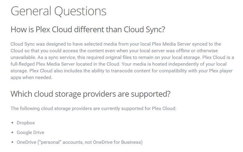 cloud sync vs plex cloud