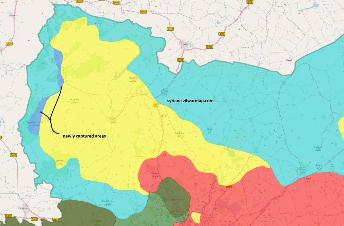 approximate situation in afrin region source syrian civil war map