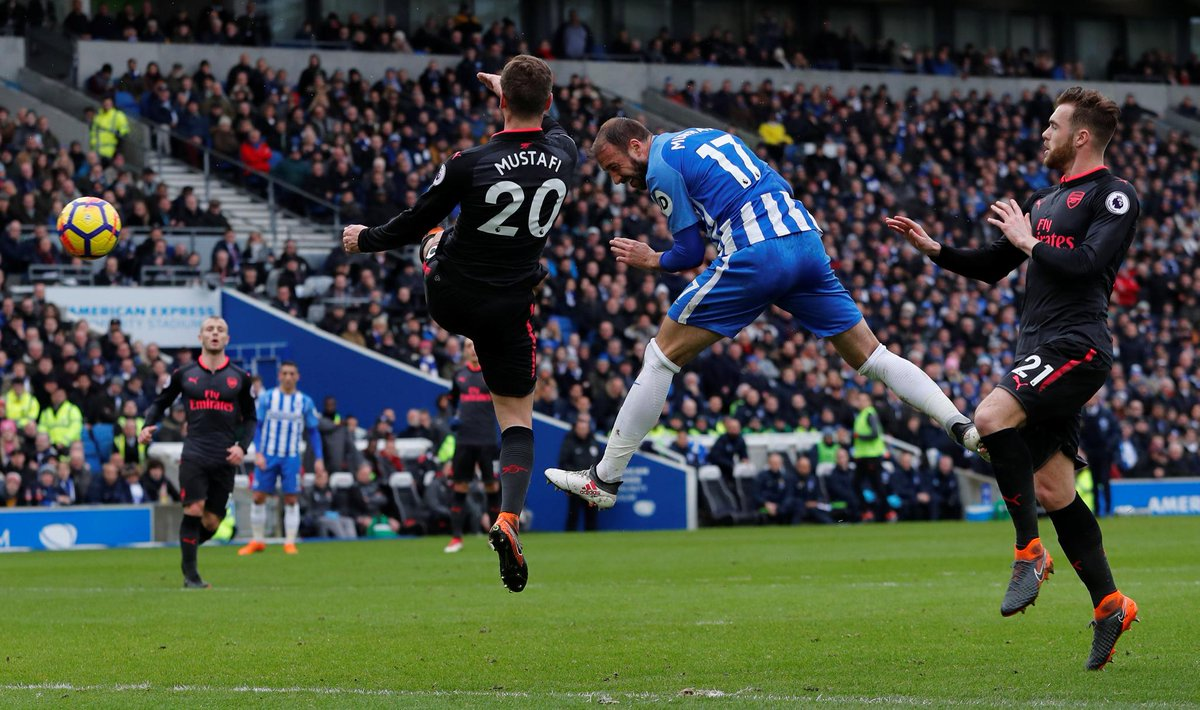 📸 Only Mo Salah (7) and Sergio Aguero (9) have scored more #PL goals in 2018 than Glenn Murray (6) Brighton 2-0 Arsenal (32 mins) #BHAARS