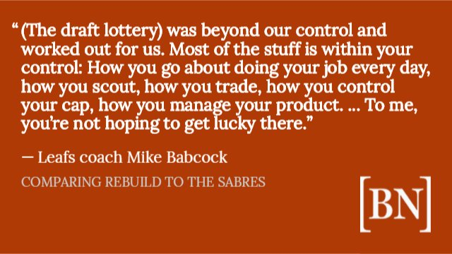 Babcock was asked by a Toronto writer about the difference in the two teams' rebuilds. Gut-punch answer to #Sabres fans.