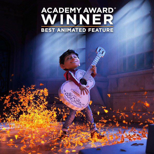 And  Award for Best Animated Feature goes to... ! Congratul#PixarCocoations to our entire Coco family. ✨ #Oscars