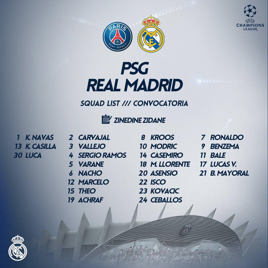 📝💫 Our squad for Tuesdays Champions League last-16 second leg match against @PSG_English! #RMUCL | #HalaMadrid