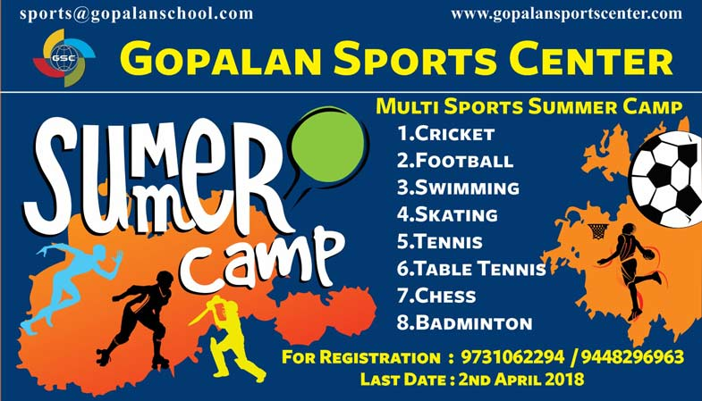 Gopalansportscentre on twitter greetings from gopalan sports are you ready to enjoy this summer holidays summer camp starts from 2nd april 2018 for more info visit httpgopalansportscenter cricket m4hsunfo