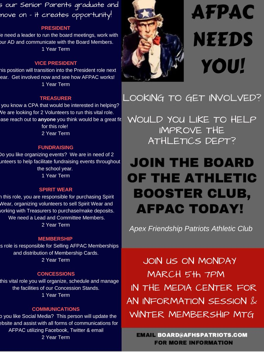 "Afpac tout afhs athletics club on twitter: ""don't forget our athletic club"