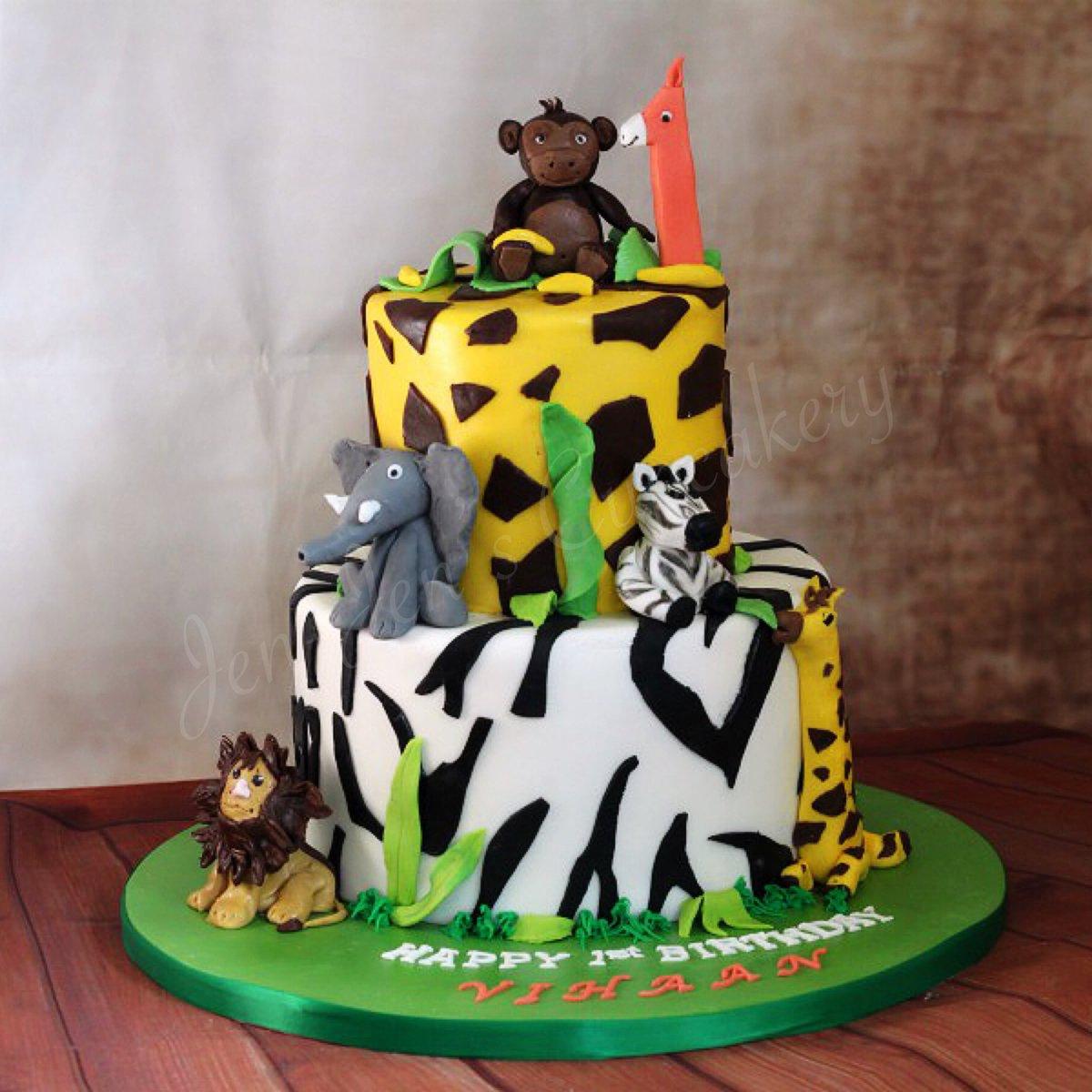 JenJensCupcakery On Twitter Jungle Themed 1st Birthday Cake