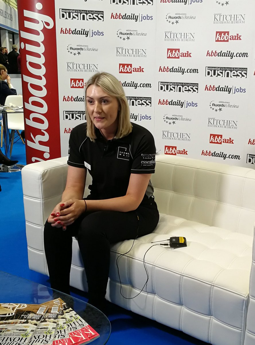 Steph Harris from @showerwall being put through her paces by @kbbdaily and talking about the new branding and new collections - look out for it later on their website! #kbb2018