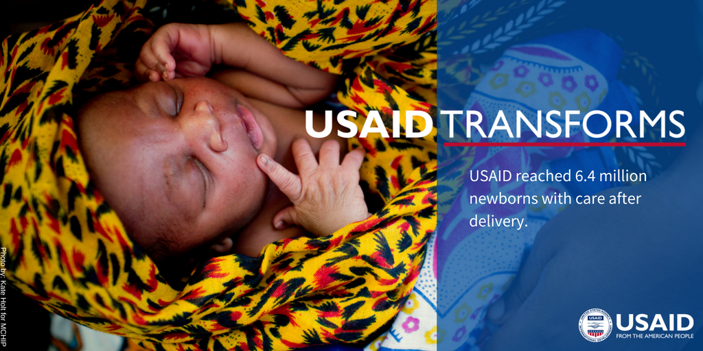 From 2012 to 2016, USAID reached 6.4 million newborns with care after delivery. #USAIDTransforms