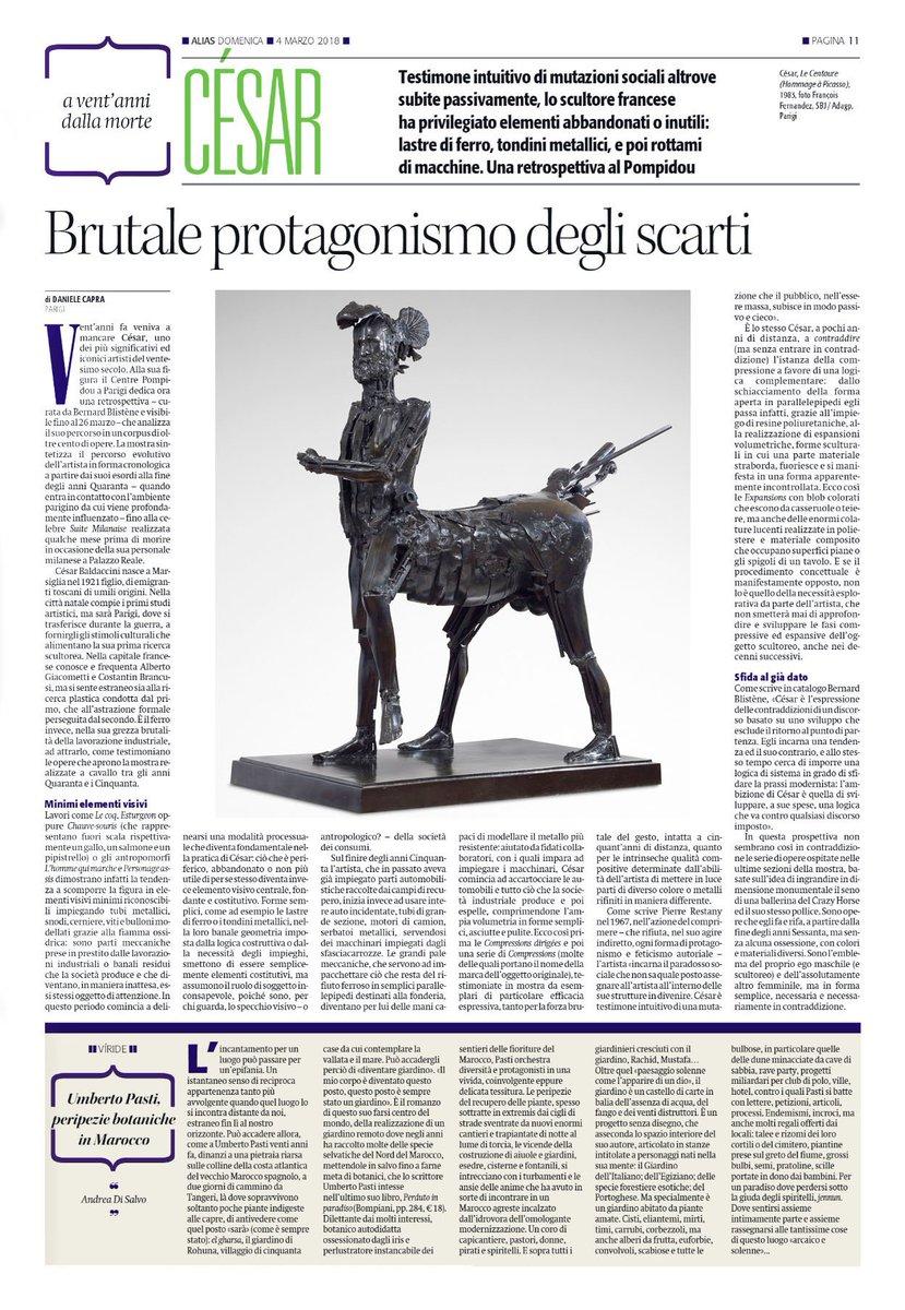 La #scultura di #César tra scarti e compressioni. Mio pezzo su #Alias de @ilmanifesto di ieri sulla #retrospettiva al @CentrePompidou