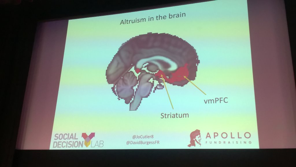 The striatum is activated by giving and eating food we like. Linking giving + thanking is really impt#CSNConf18