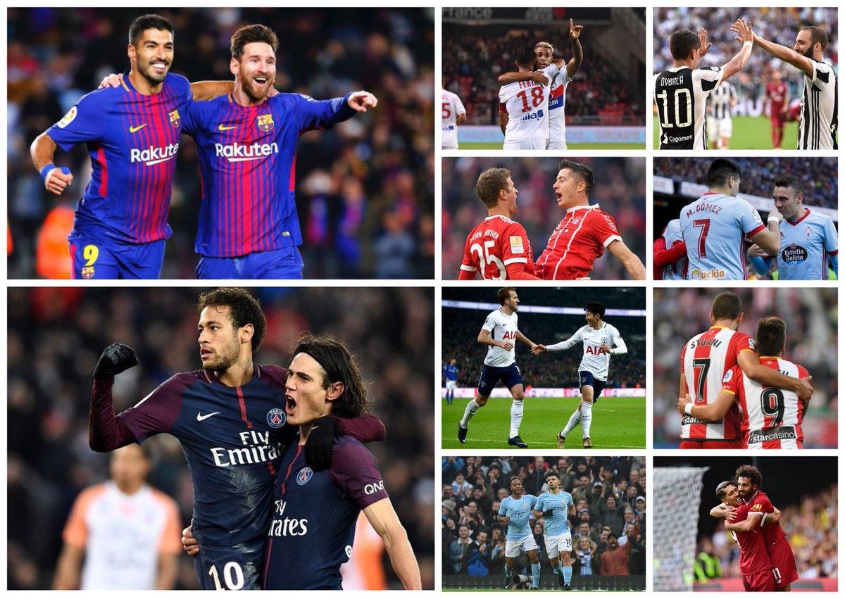 🔥⚽️TOP 🔟 duplas en las 5️⃣ grandes ligas 1. Messi+Suárez = 44 2. Cavani+Neymar = 43 3. Salah+Firmino = 37 4. Agüero+Sterling = 36 5. Kane+Son = 34 6. Mariano+Fekir = 32 7. Aspas+Maxi = 29 8. Dybala+Higuaín = 29 9. Lewandowski+Müller = 26 10. Stuani+Portu = 25