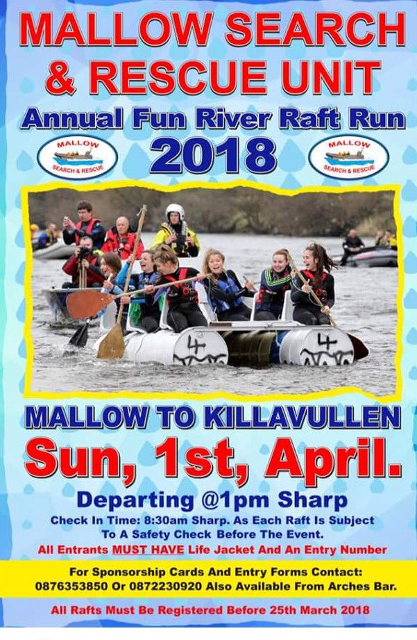"""Mallow SAR on Twitter: """"Annual river raft run on 1st April. Entry ..."""