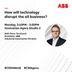 Don't miss ABB's Peter Terwiesch talking about technology disruptors in the oil industry at #CWAgora.