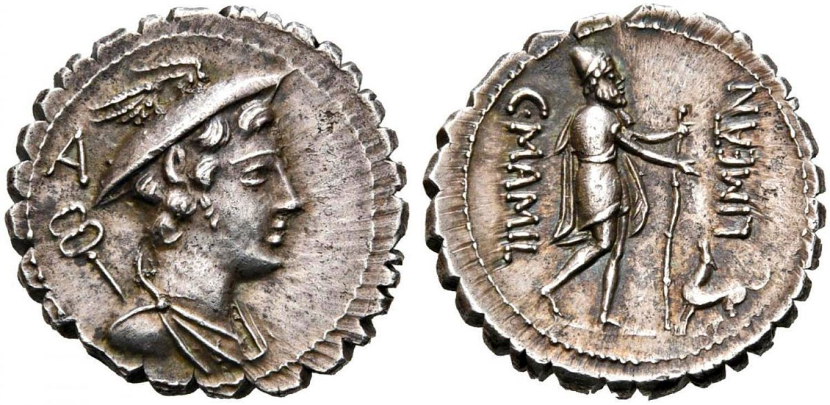 "Gareth Harney on Twitter: ""A special new coin for my collection. A  beautiful Republican denarius serratus minted in 82 BC by Gaius Mamilius  Limetanus, with an extraordinary depiction of one of the"