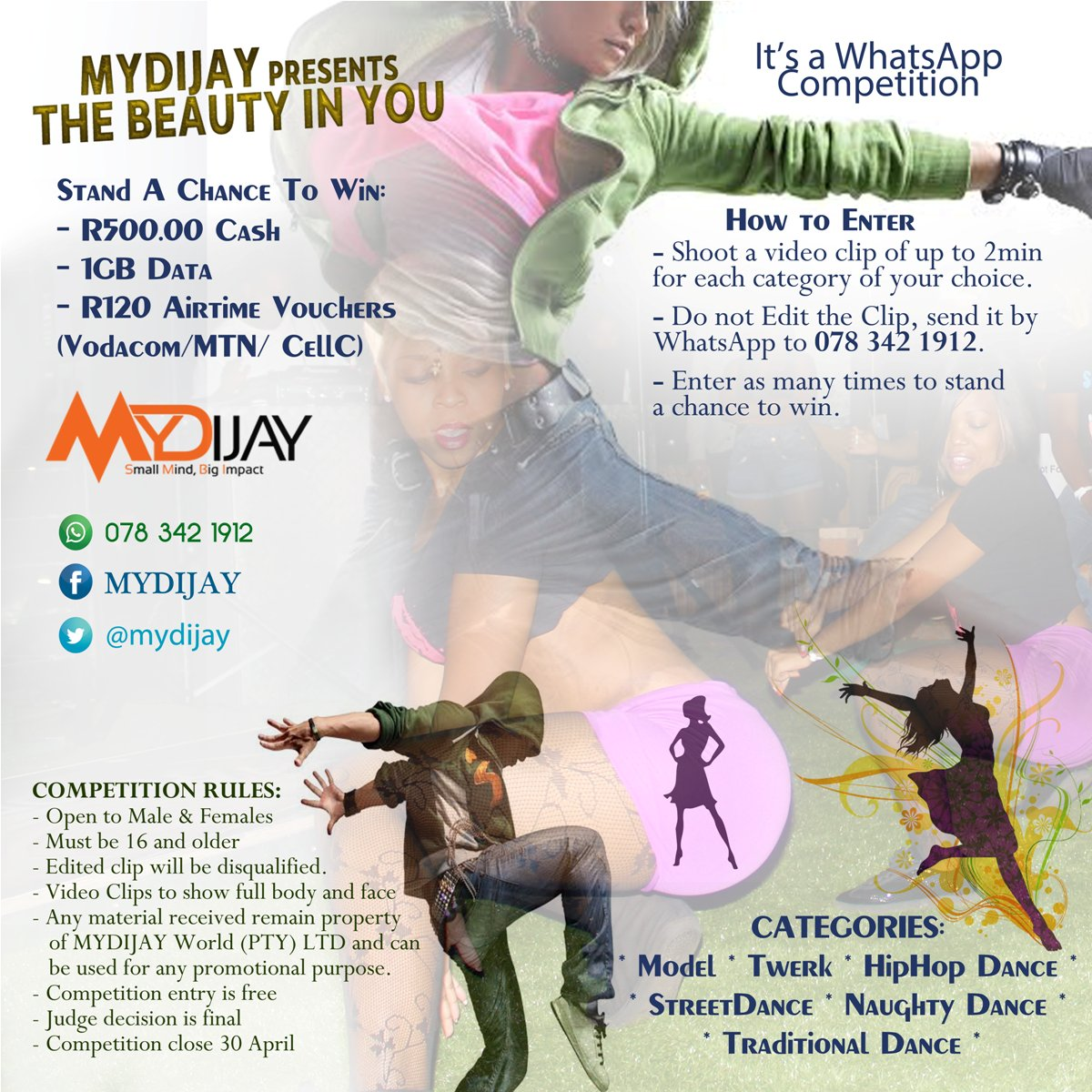 Thebeautyinyou Hashtag On Twitter Voucher Whatsapp Blast Stand A Chance To Win R500 Cash With Competition Open All Aged 16 And Older Entry Is Free Model Twerk Or Dance