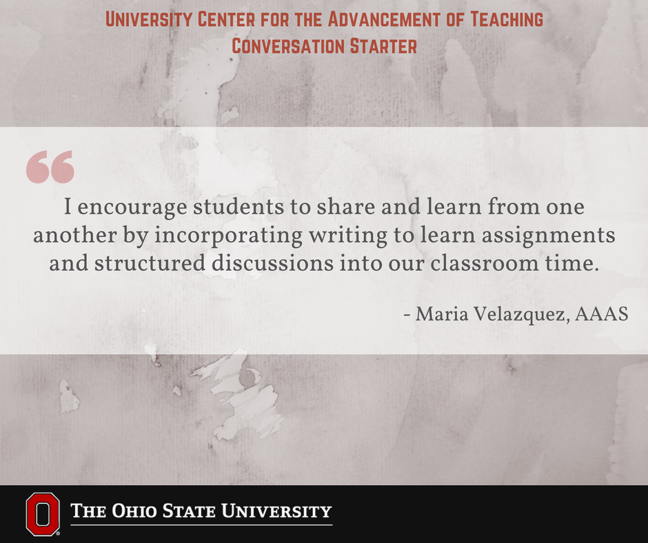 How do you encourage students to share and learn from one another's perspectives in your class? #UCATconvo @Osuafamast