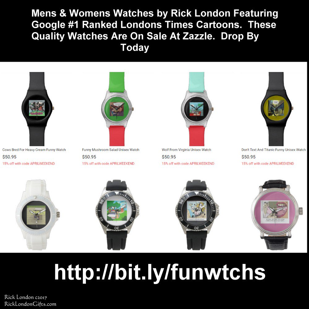 #Watches 30% off all Google #1 ranked @LTCartoons #offbeat #comic #wristwatches #Couponcode MARCHSALEZAZ @c/o #humor @zazzle #jewelry 🌏 EndsFri #WorldWide #shipping #usa #uk #eu #au #nz #fr #de #se #dk #no #ie #il #be #sp #pt #ca 👉 #Free #Personalization