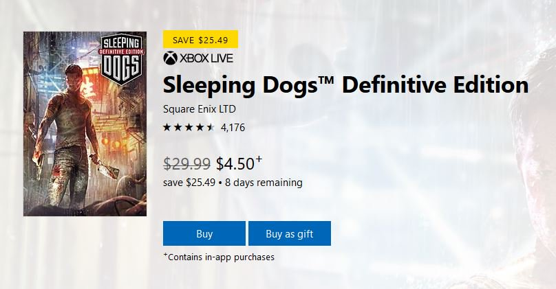 Sleeping Dogs Definitive Edition (X1) $4.50 via Xbox Live (Gold Price). https://t.co/djHuG6V33T https://t.co/MhE5vkF3py